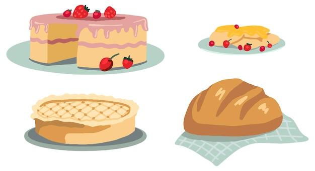 Conjunto de bolos caseiros. bolo, torta, panqueca, pão. ilustrações vetoriais da estética cottagecore. coleta de alimentos. desenhos simples isolados no branco.