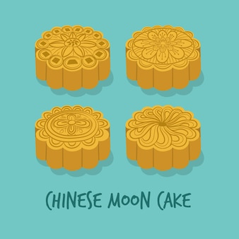 Conjunto de bolos chineses da lua para o festival do meio outono