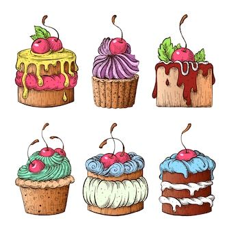 Conjunto de bolos com cerejas.