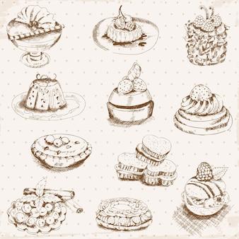 Conjunto de bolos com doces e sobremesas