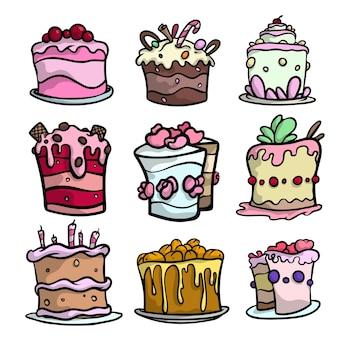 Conjunto de bolos cremosos coloridos para diferentes feriados festivos com frutas