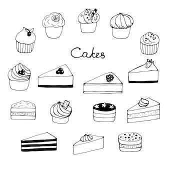 Conjunto de bolos, cupcakes e cheesecakes, ilustração vetorial, rabiscos, desenhados à mão