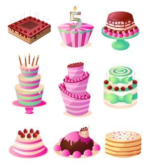 Conjunto de bolos de aniversário cremoso saborosos doces coloridos