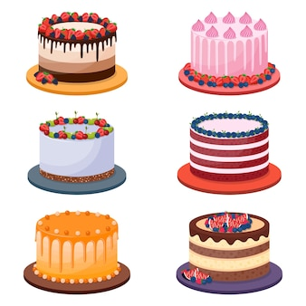 Conjunto de bolos de aniversário em fundo branco, ilustração vetorial