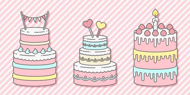 Conjunto de bolos de aniversário fofos com três cores pastel