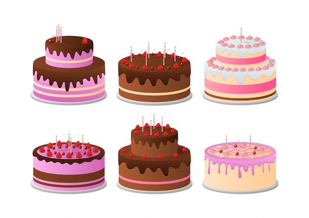 Conjunto de bolos de aniversário.