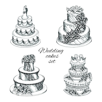 Conjunto de bolos de casamento