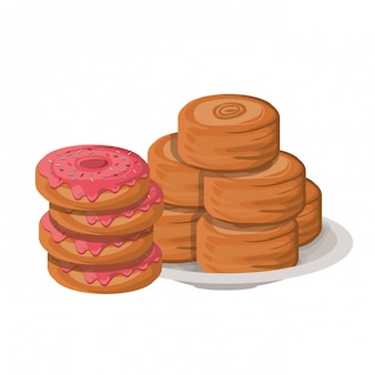 Conjunto de bolos de padaria deliciosos e frescos