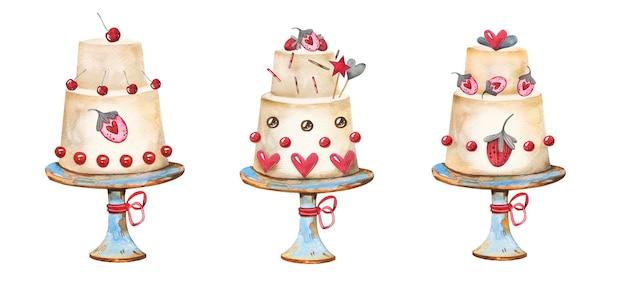 Conjunto de bolos de padaria doce aquarela mão desenhada.