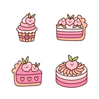 Conjunto de bolos de pêssego fofos decorados com corações de flores e frutas