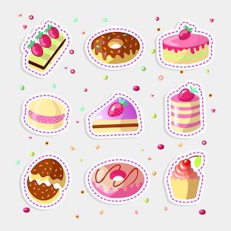 Conjunto de bolos doces bonito dos desenhos animados coloridos, cupcakes e rosquinhas