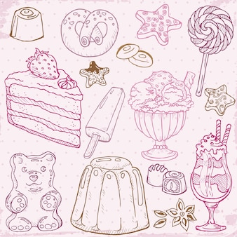 Conjunto de bolos, doces e sobremesas