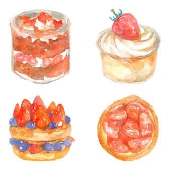Conjunto de bolos doces em aquarela