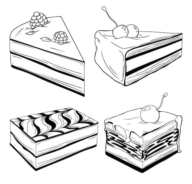 Conjunto de bolos. doces isolados em um fundo branco.