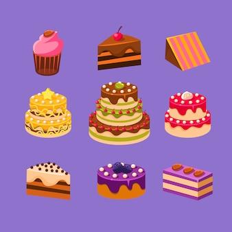 Conjunto de bolos e sobremesas