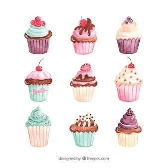 Conjunto de bolos em estilo aquarela