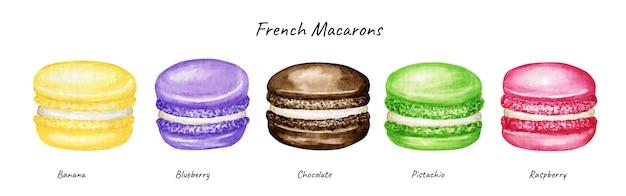 Conjunto de bolos macaron francês mistura aquarela mão desenhada. chocolate rosa amarelo verde roxo frutas sobremesa de pastelaria isolado em fundo branco biscoitos de biscoito colorido, doce de banana framboesa de mirtilo