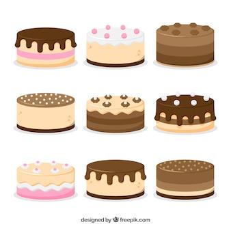 Conjunto de bolos no estilo 2d
