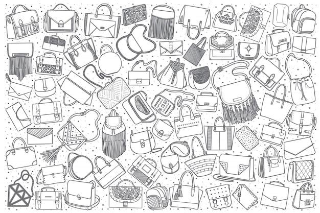 Conjunto de bolsa de mão desenhada