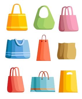 Conjunto de bolsa de praia de verão. ilustração mulheres bolsas de verão. pacote ecológico, produto ecologicamente correto. ilustração em fundo branco