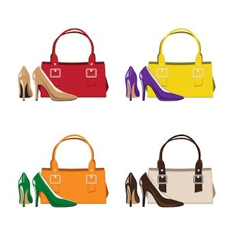 Conjunto de bolsa e sapatos femininos da moda