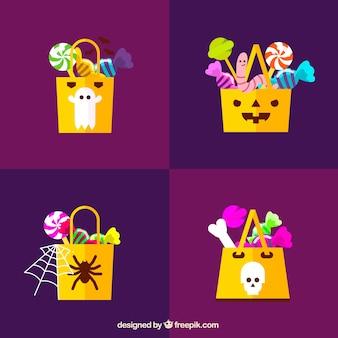 Conjunto de bolsas de doces de halloween