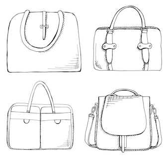 Conjunto de bolsas diferentes, masculinas, femininas e unissex. ilustração em estilo de desenho.