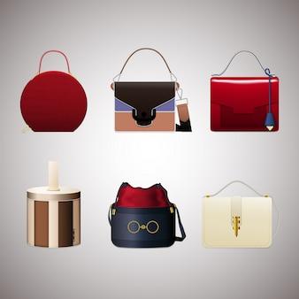 Conjunto de bolsas femininas elegantes. acessórios de couro na moda de diferentes tipos isolados em fundo cinza.