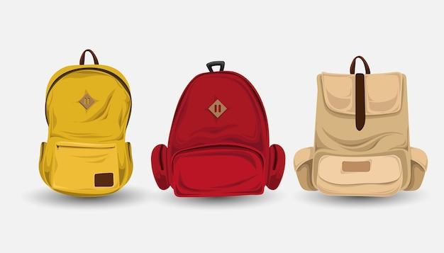 Conjunto de bolsas vários modelos e cores prontas para ir à escola