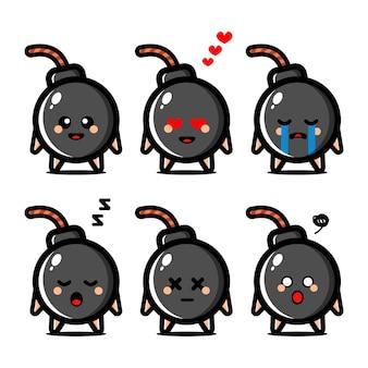 Conjunto de bomba fofa com personagem de desenho animado de expressão