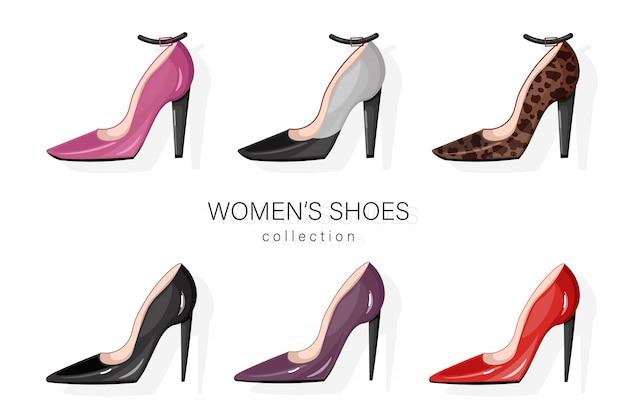 Conjunto de bombas de sapatos de mulher.
