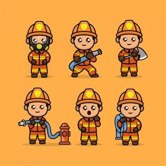 Conjunto de bombeiro bonito mascote design ilustração