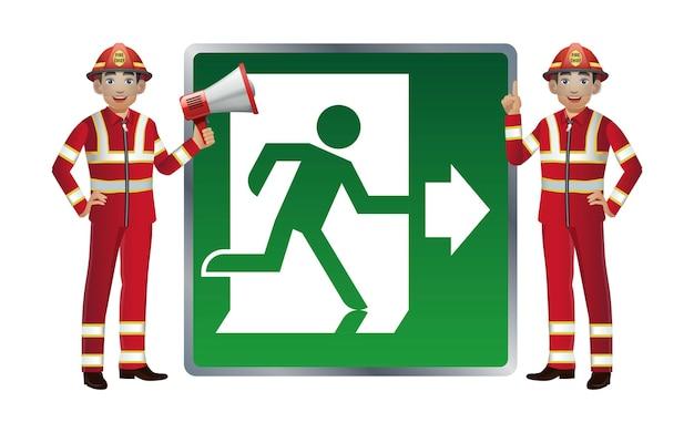Conjunto de bombeiro com diferentes poses