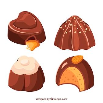 Conjunto de bombons de chocolate com diferentes sabores