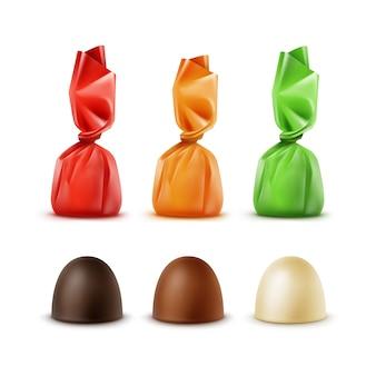 Conjunto de bombons de chocolate realistas