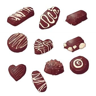 Conjunto de bombons de chocolate