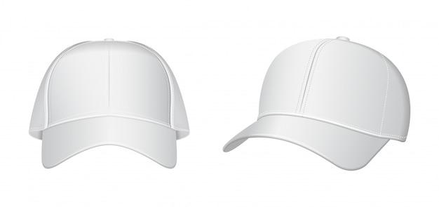 Conjunto de boné de beisebol branco. ilustração em vetor realista