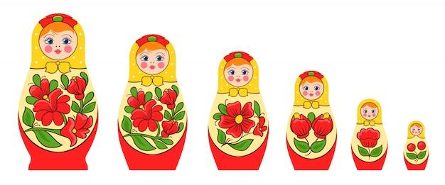 Conjunto de boneca de empilhamento russo