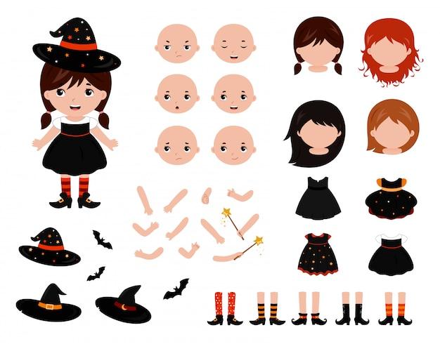 Conjunto de boneca de papel adorável bruxinha