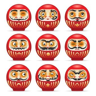 Conjunto de bonecas japonesas daruma vermelho
