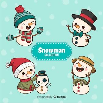 Conjunto de boneco de neve desenhado de mão