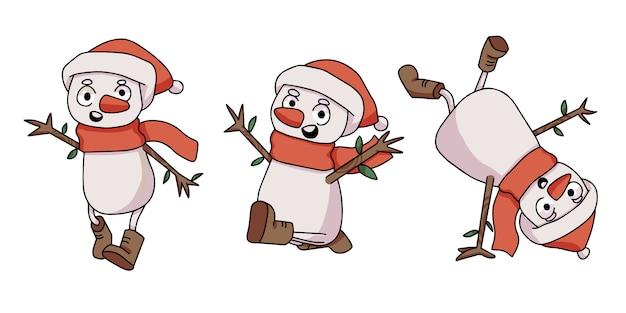 Conjunto de boneco de neve despreocupado de natal