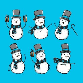 Conjunto de boneco de neve doodle