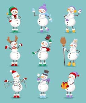 Conjunto de boneco de neve dos desenhos animados.