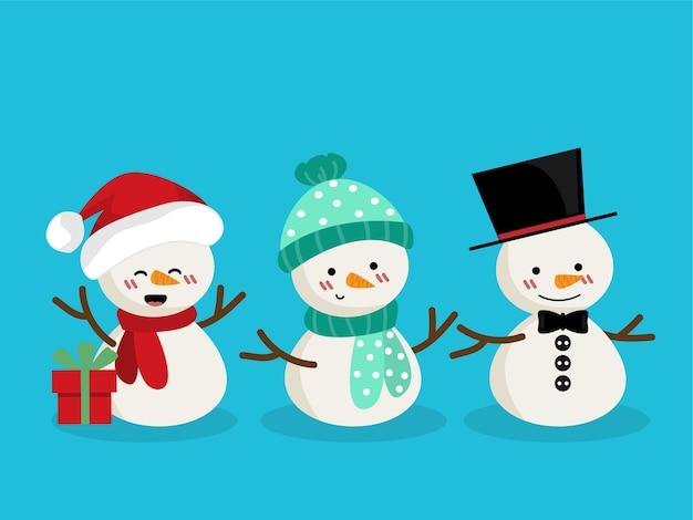 Conjunto de boneco de neve para a temporada de férias de natal.