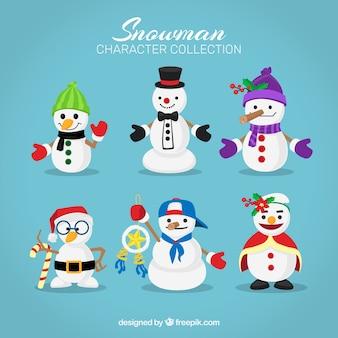 Conjunto de bonecos de neve bonitos com acessórios