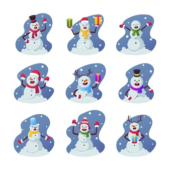 Conjunto de bonecos de neve de desenho animado, personagens engraçados de inverno, vestindo roupas quentes, chapéus, luvas e lenços, segurando presentes e caixas de presente para o natal isolado no fundo branco