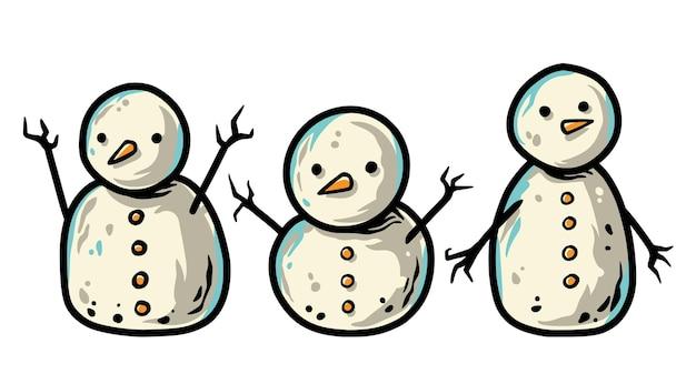 Conjunto de bonecos de neve de natal para o feriado de ano novo