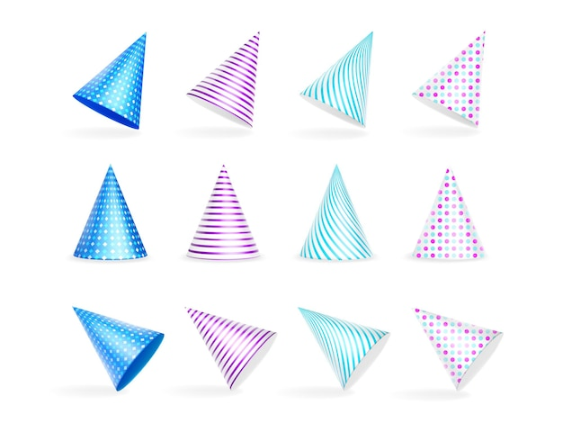 Conjunto de bonés coloridos de aniversário com listras e bolinhas