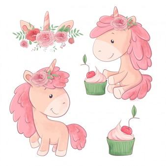 Conjunto de bonito dos desenhos animados dois unicórnios com flores e cupcake.